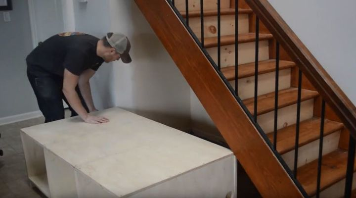 diy shiplap staircase organization bench video