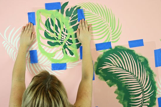 stencil a tropical wall for under 95