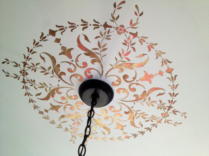 s 17 impossibly creative ceiling ideas that will transform any room, Use An Elaborate Metallic Stencil