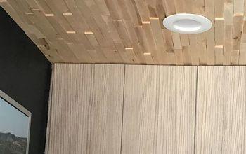 entryway ceiling shim wood mosaic