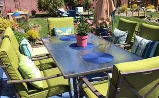 patio cushion rehab with paint, Dining area with newly painted cushions