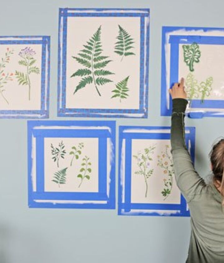 stenciling a faux gallery wall using botanical stencils