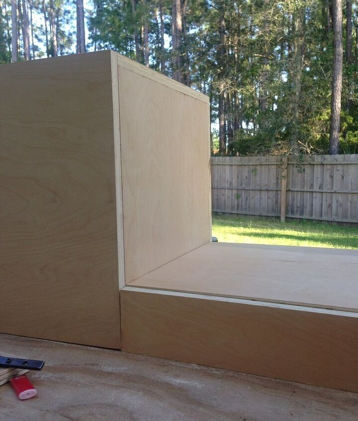 faux cement wall and floating cabinet