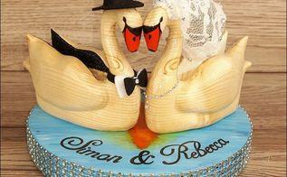 wood carved swans