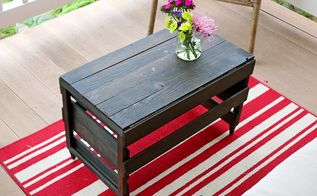crate transformed into a coffee table