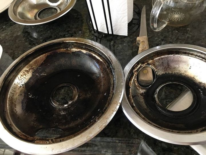 q how do i clean or remove black baked on stuff from the stove