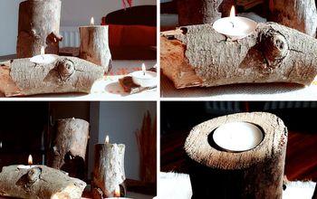 diy log tealight candle holders
