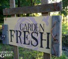 garden sign with stencil overlay details