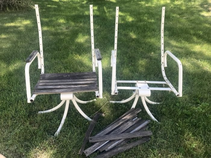 refinishing wooden slat patio chairs