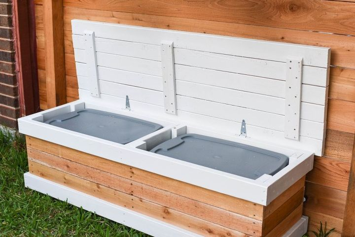 diy outdoor storage bench with hidden storage containers