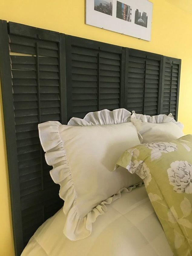 diy headboard from old shutters