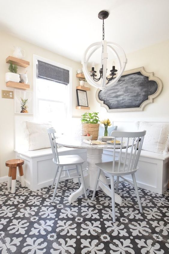 s make your kitchen beautiful with these inexpensive ideas, Add A Built in Kitchen Banquette