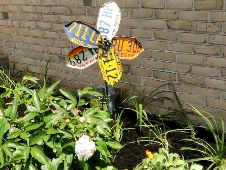 license plate garden flower