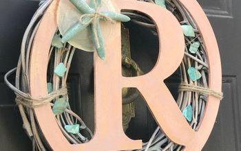coastal wreath with initial