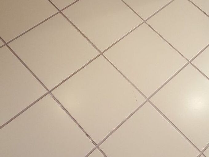 q how to paint a tile and grouted bathroom floor