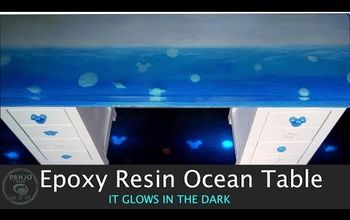 Epoxy Resin Ocean Table That GLOWS in the Dark