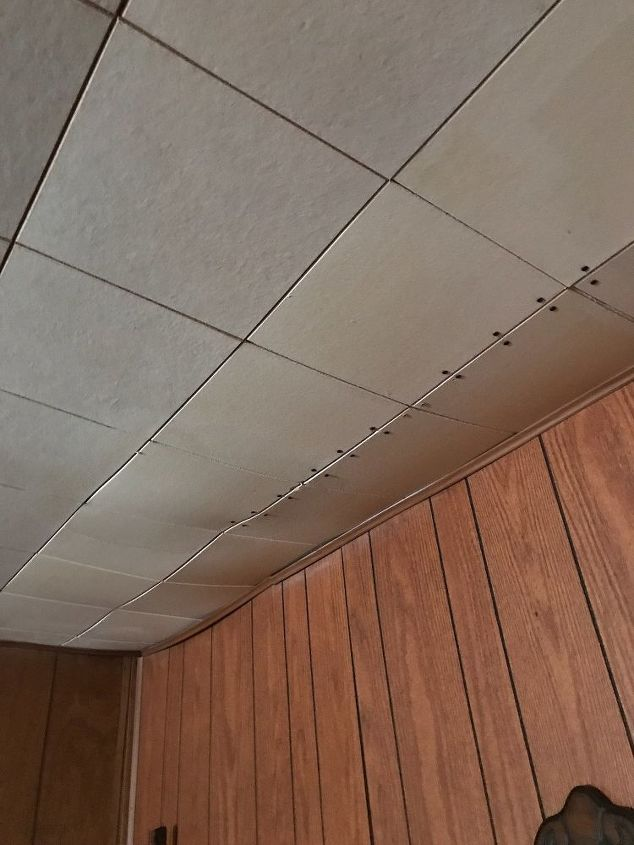 q how to cover acoustic tile ceilings cheap and easy