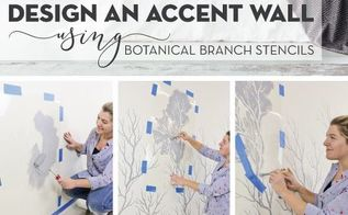 design an accent wall using botanical branch stencils