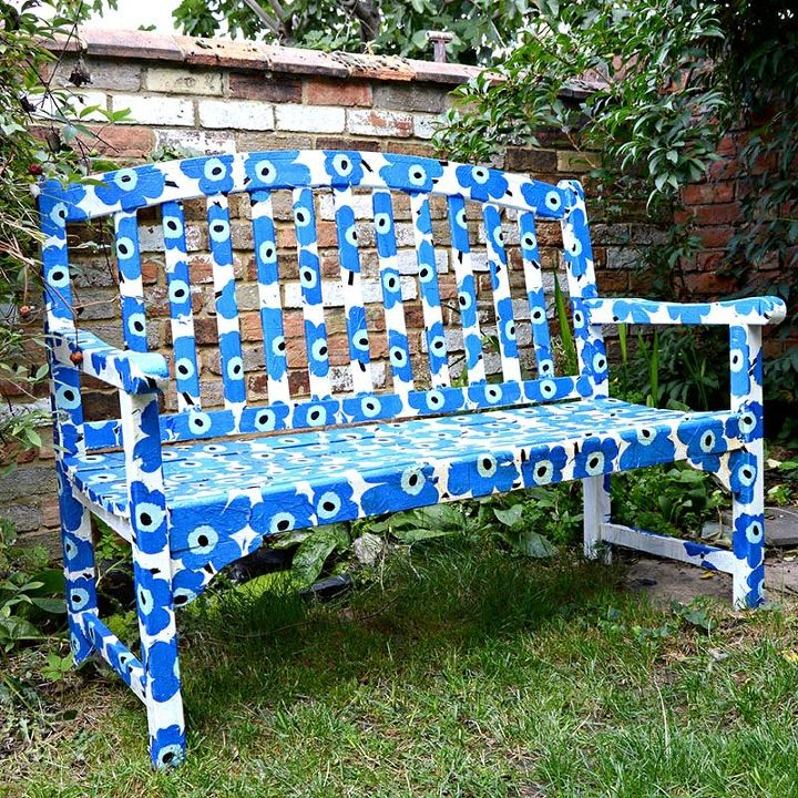 s 20 benches you can build this summer, Marimekko Bench Using Paper Napkins