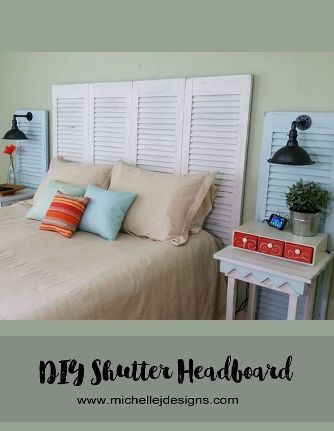 s instantly upgrade your living space with these amazing diy ideas, Turn garage sale shutters into a headboard