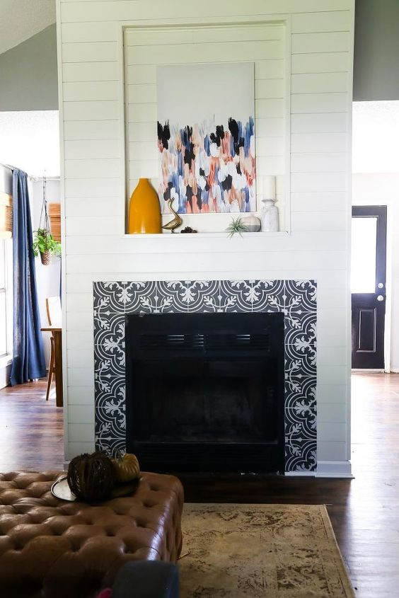 s instantly upgrade your living space with these amazing diy ideas, Makeover your fireplace with shiplap and tile