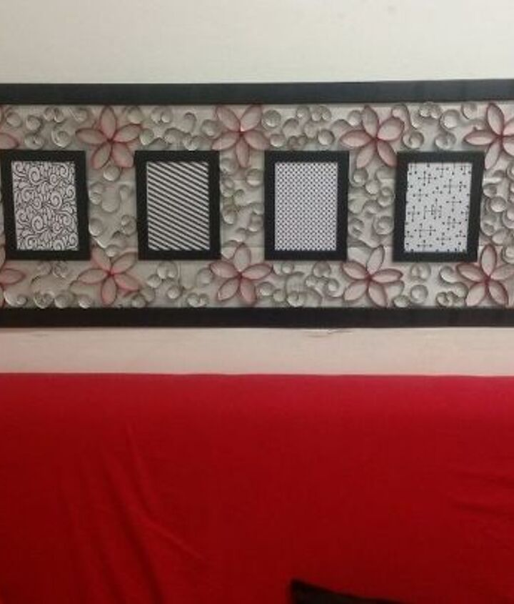 wall art from broken mirror frame and toilet paper rolls