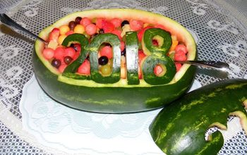 Carved Watermelon Salad for Graduation Party..