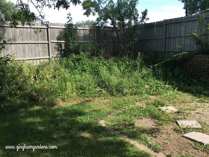 tiered flower garden makeover, Before The Weed Pit
