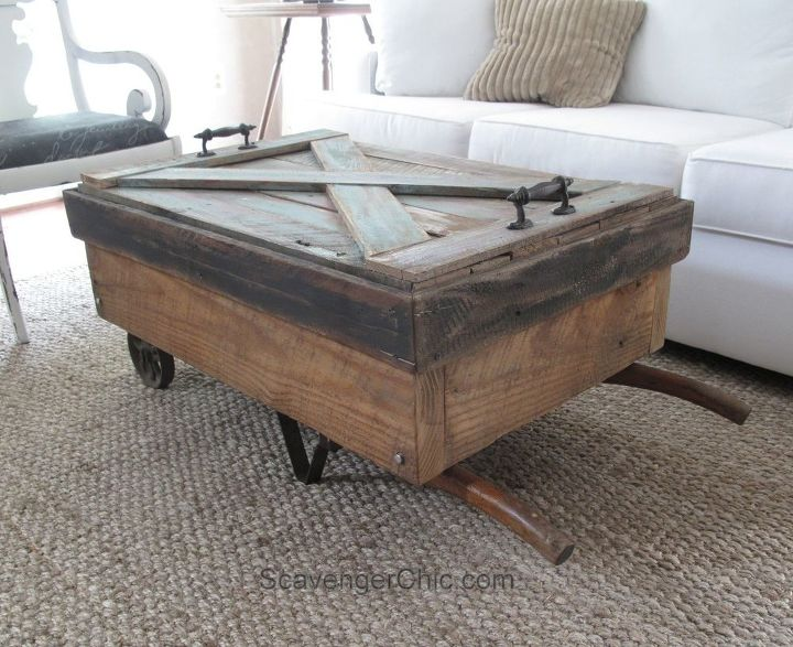 s these coffee table ideas will inspire you to make your own, Upcycled Hand Cart Coffee Table