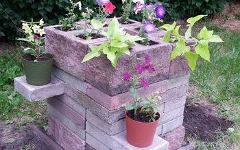 cinder block planter with shelves