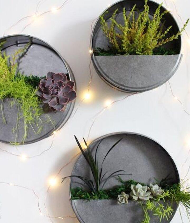 diy faux galvanized wall planter