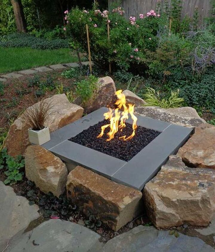 s 15 fabulous fire pits for your backyard, Modern with large stones