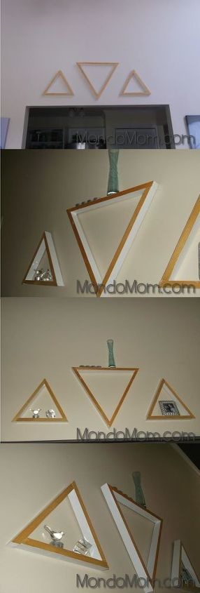s 16 floating shelves that will stun guests, Decorative Wooden Triangle