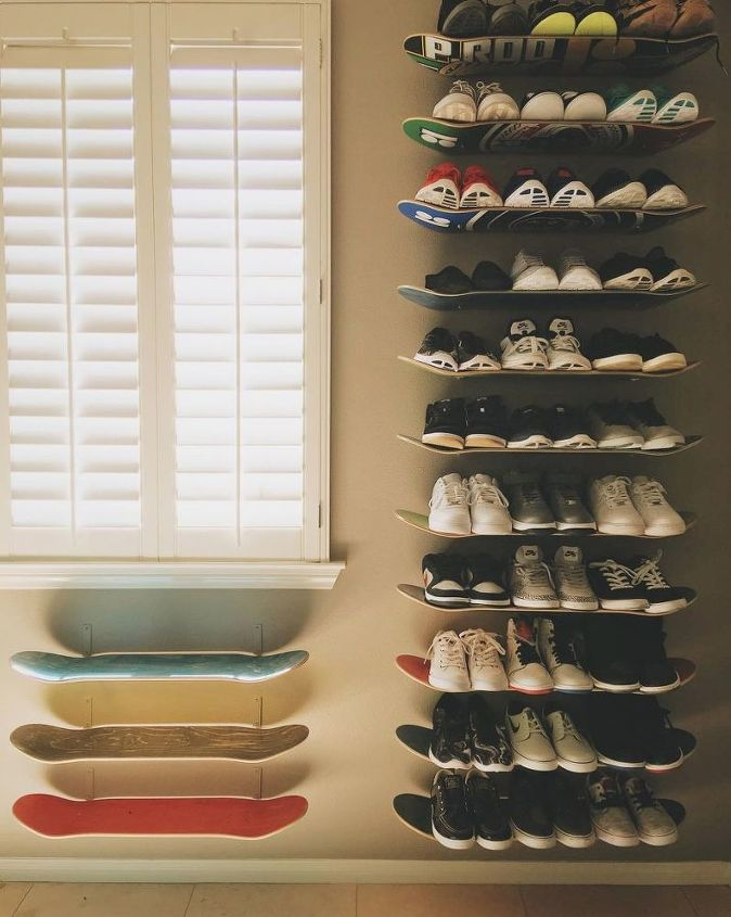 s 16 floating shelves that will stun guests, Skateboard and Shoe Shelves