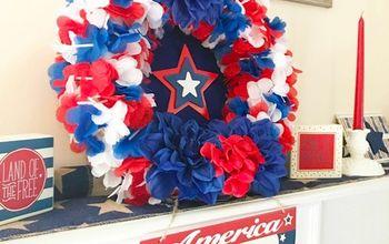 patriotic wreath using dollar store leis