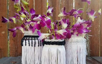 upcycled jars with fringe for party decor