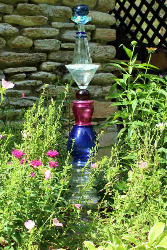 how to make a cool glass garden art totem