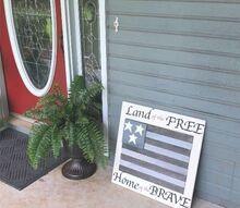 diy american flag with tile scraps