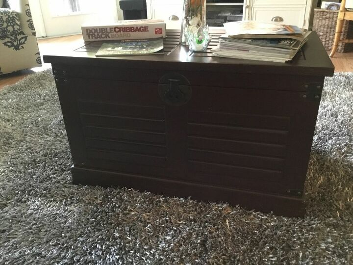 q how do i paint or stain or update dark storage trunk to grey