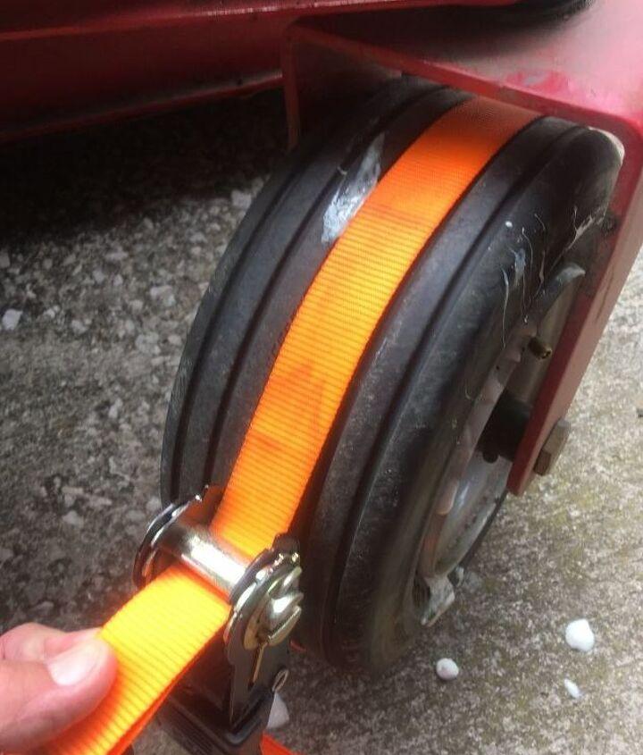 flat tire repair on a riding mower
