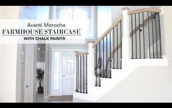 farmhouse staircase with chalk paint