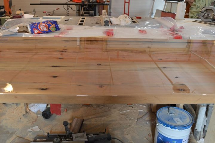 how to make an incredibly shiny reclaimed wood desk top with