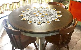 makeover on a worn oak table to a farmhouse fresh beauty