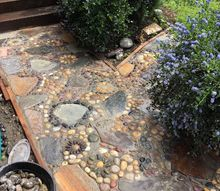 creating a stone mosaic front garden path, Love it