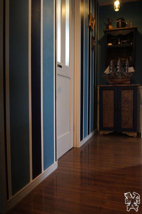 hallway makeover pallet ceiling lights and stripes