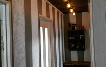 Hallway Makeover- Pallet Ceiling, Lights and Stripes!