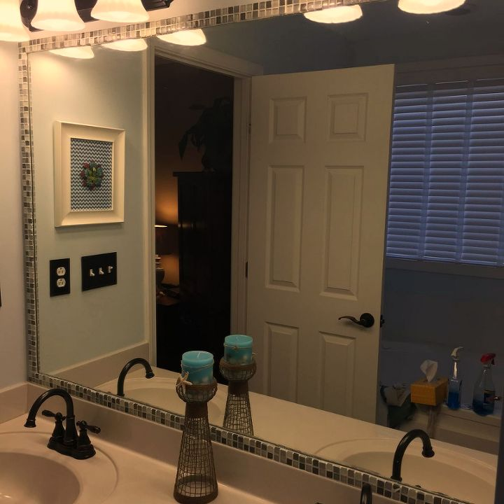 s 15 bathroom upgrades that you can totally diy, Frame The Mirror With Mosaic Tile