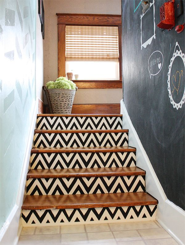s does your staircase need an update, Chevron Painted