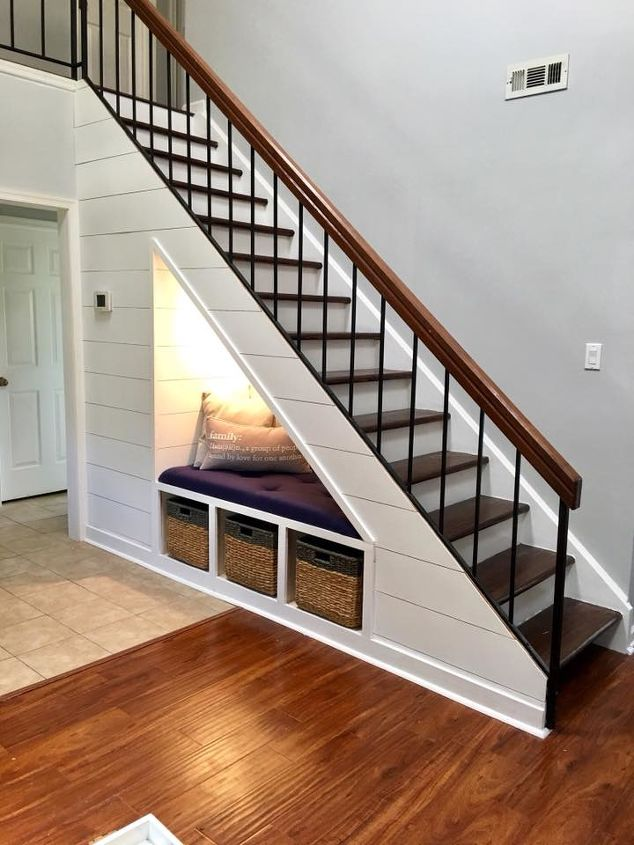 s does your staircase need an update, Shiplap With Organization Bench