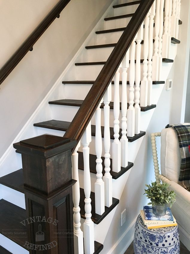 s does your staircase need an update, Dark Wood White Paint